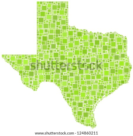 Map of Texas - USA - in a mosaic of green squares