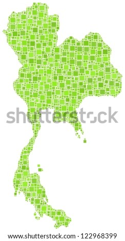 Map of Thailand - Asia - in a mosaic of green square - stock vector