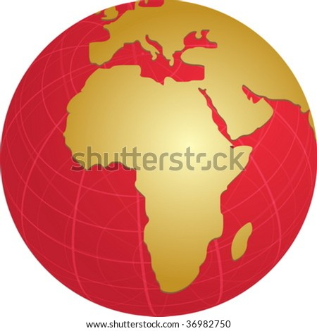 Map of the Africa, on a spherical globe, cartographical illustration