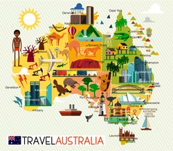 Map of the Australia and Travel Icons.  Australia Travel Map. Vector Illustration.