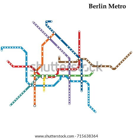 Map of the Berlin metro, Subway, Template of city transportation scheme for underground road. Vector illustration