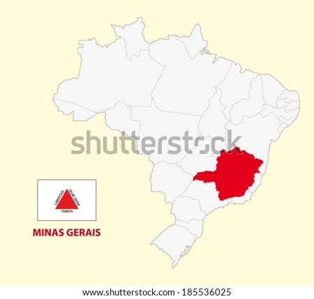 map of the brazilian state minas gerais  with flag