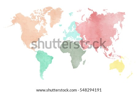 Map of the continental world in watercolor in six different colors  Stockfoto ©