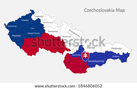 Map of the Czechoslovakia map in the colors of the flag with administrative divisions, Czech Republic and Slovak Republic, vector Foto d'archivio ©