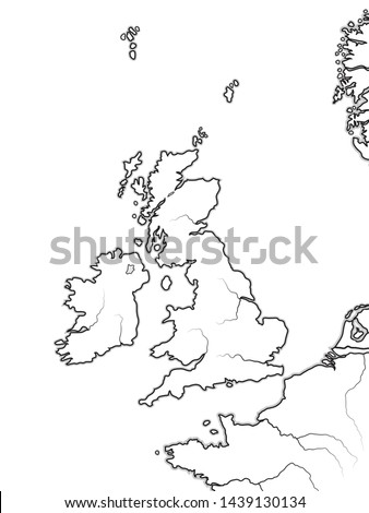 Map of The ENGLISH Lands:  The Great Britain (The United Kingdom) — England, Scotland, Wales, And Ireland. British Isles, North Sea, English Channel. Geographic chart with sea coastline and islands.