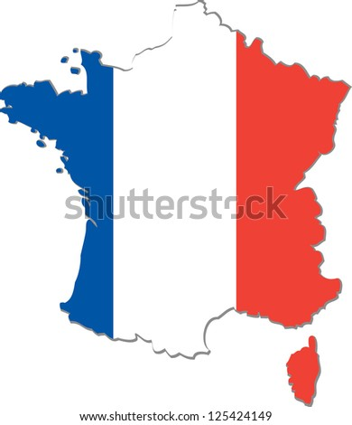 Map of the French Republic with national flag isolated on white background