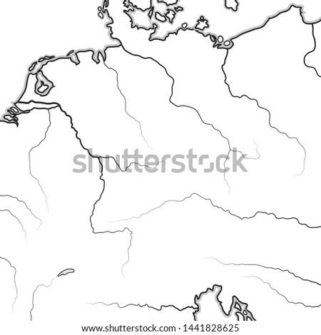 Map of The GERMAN Lands:  Germany (Deutschland), Alemannia (Allemagne), Bavaria, Saxonia, Franconia, Thuringia, Westphalia, Teutonia, Prussia, Swabia, Austria (Österreich). Geographic chart.