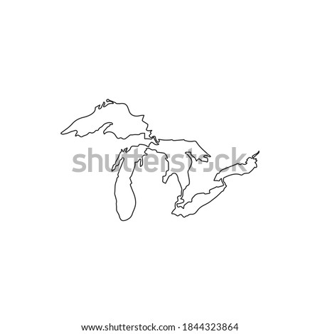 map of the great lakes vector