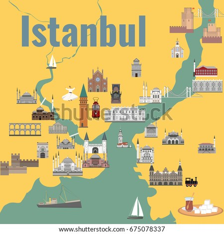 Map of the historical center of Istanbul with sights flat style vector illustration.