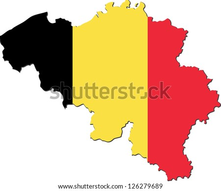 Map of the Kingdom of Belgium with national flag isolated on white background