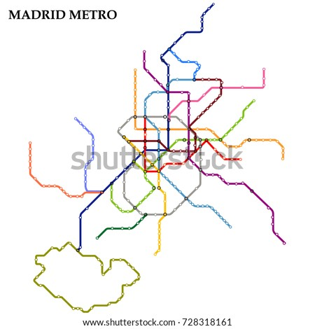 Map of the Madrid metro, Subway, Template of city transportation scheme for underground road. Vector illustration