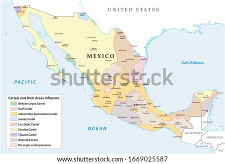 Map of the Mexican drug cartels and their spheres of influence Foto stock ©