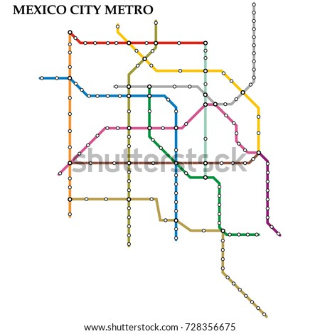 Map of the Mexico City metro, Subway, Template of city transportation scheme for underground road. Vector illustration.
