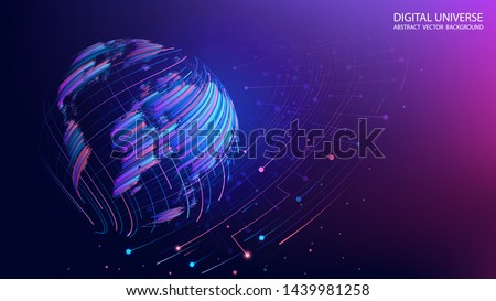 Map of the planet. World map. Global social network. Future. Vector. Violet and blue futuristic background with planet Earthcreated by brush strokes. Internet and technology. Plexus background.