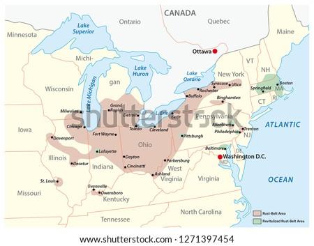 map of the region rust belt in