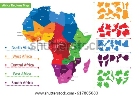 Shutterstock Map of the regions of Africa. Map of Africa