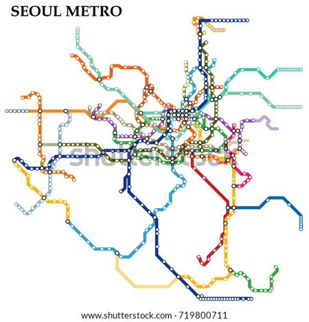 Map of the Seoul metro, Subway, Template of city transportation scheme for underground road. Vector illustration