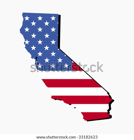 Map of the State of California and American flag illustration