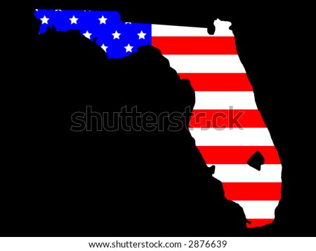 Map of the State of Florida and American flag