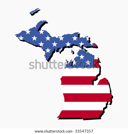 Map of the State of Michigan and American flag illustration