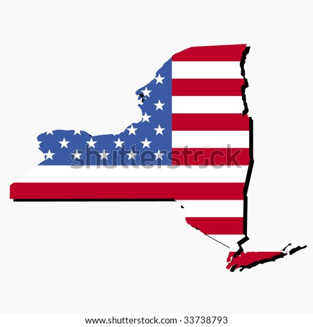 Map of the State of New York and American flag illustration