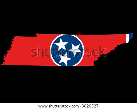 Map of the State of Tennessee and their flag