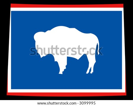 Map of the State of wyoming and their flag
