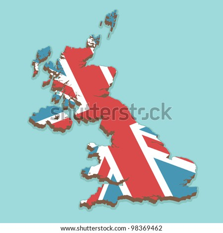 map of the united kingdom made from the union jack flag, on blue background