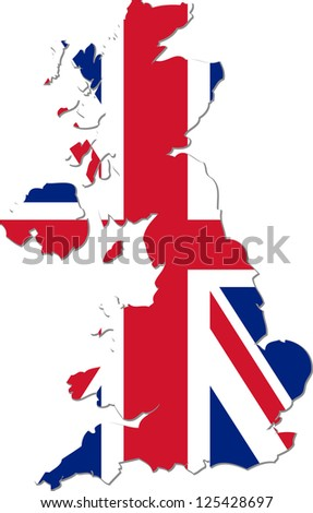Map of the United Kingdom of Great Britain and Northern Ireland with national flag isolated on white background