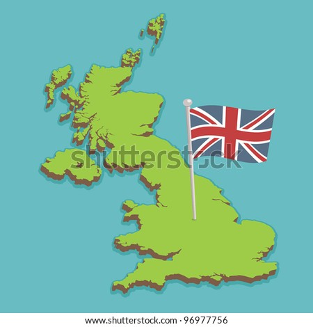 map of the united kingdom with union jack flag, no gradients or transparencies