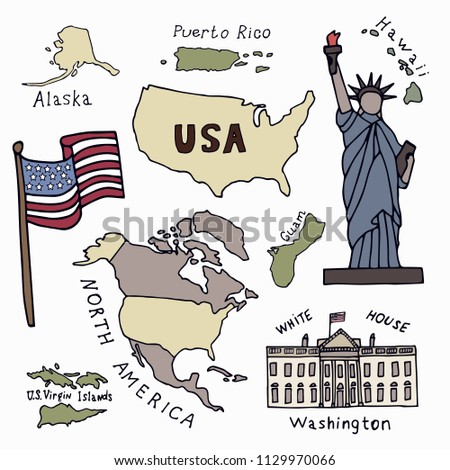 Map of the United States of America and the symbols of America.North America, Alaska, USA, Hawaii, Guam and the US Virgin Islands. Statue of Liberty and the White House. Hand drawn vector illustration
