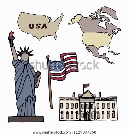 Map of the United States of America and the symbols of America. North America, flag,  Statue of Liberty and the White House. Hand drawn vector illustration.