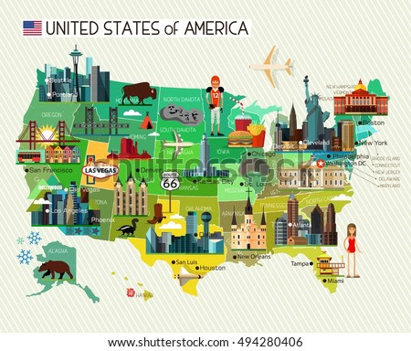 Map of the United States of America and Travel Icons. USA Travel Map. Vector Illustration.