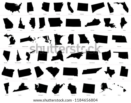 Map of The United States of America (USA) Divided States Maps Silhouette Illustration on White Background