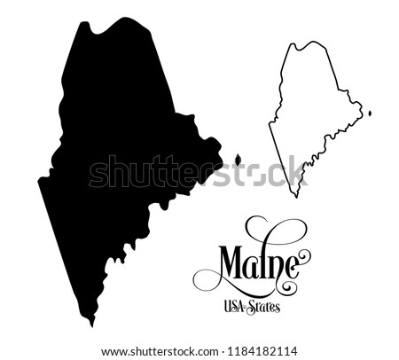 Map of The United States of America (USA) State of Maine - Illustration on White Background Foto d'archivio ©