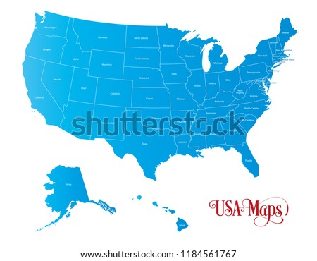 Map of The United States of America (USA) with States Name in Blue Color Illustration on White Background