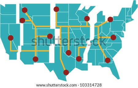Map of the United States separated into regions