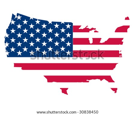 map of the USA on white