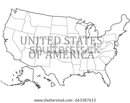 Blank Outline Map Of USA Download Free Vector Art Stock - Drawing of usa map