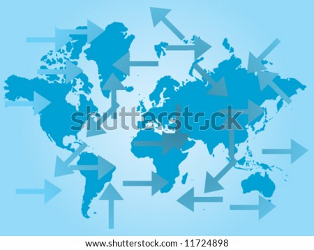 Map of the world and arrows in many directions