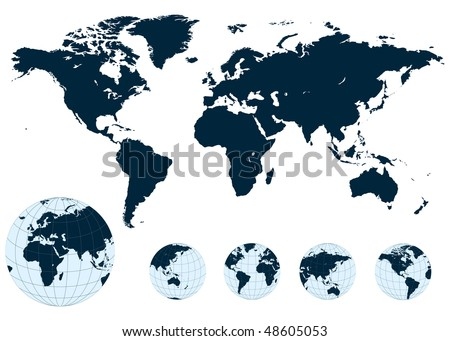 Map of the world and earth globe, vector.