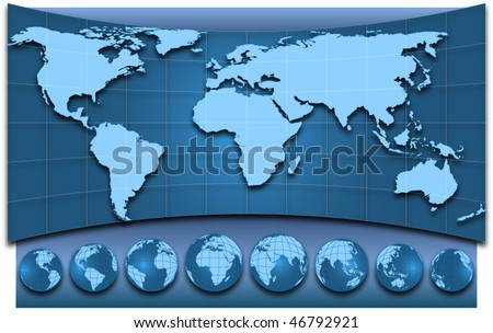 Map of the world and globes, EPS10 vector illustration