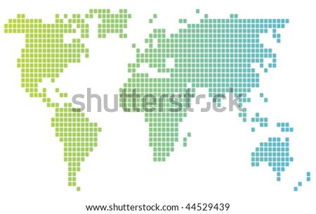 Map of the world illustration, mosaic block style