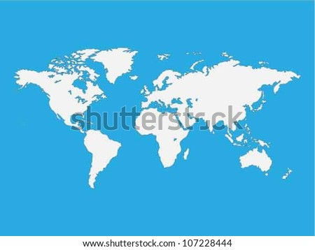 Map of the world isolated on blue