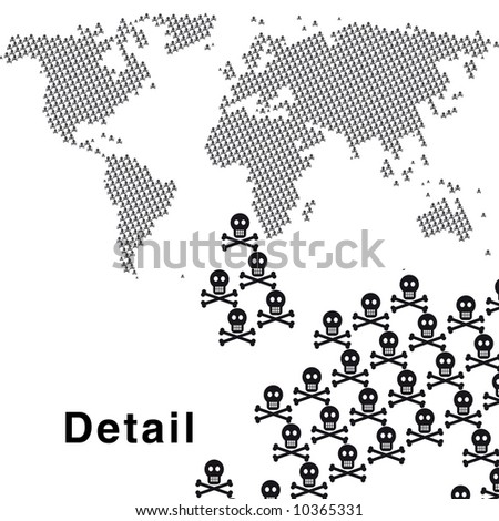 map of the world made by hundreds of skull and cross-bone symbols.