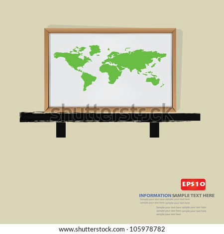 Map of the world on white board background,Vector