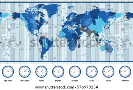 World time zones download free vector art stock graphics images map of the world standard time zones in blue colors gumiabroncs Images