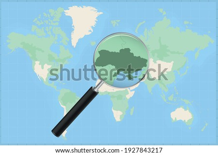 Map of the world with a magnifying glass on a map of Ukraine Detailed map of Ukraine and neighboring countries in the magnifying glass. Foto stock ©