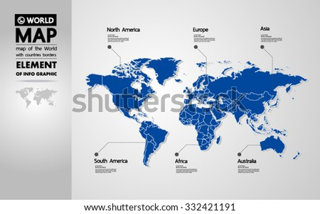 map of the World with countries borders new generation vector