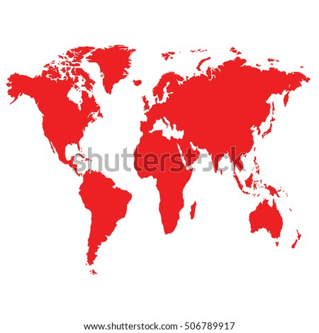 Map of The World with Red Continents and White Background - Vector Illustration #506789917